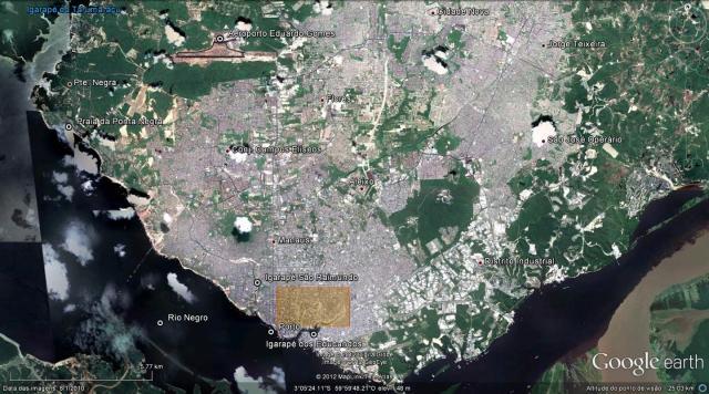 Foto de satélite da cidade de Manaus. Em destaque as áreas envolvidas no Prosamim