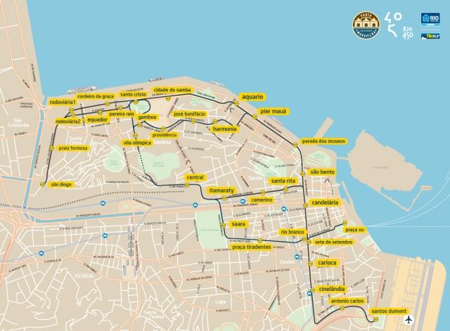 Mapa do VLT do Rio de Janeiro